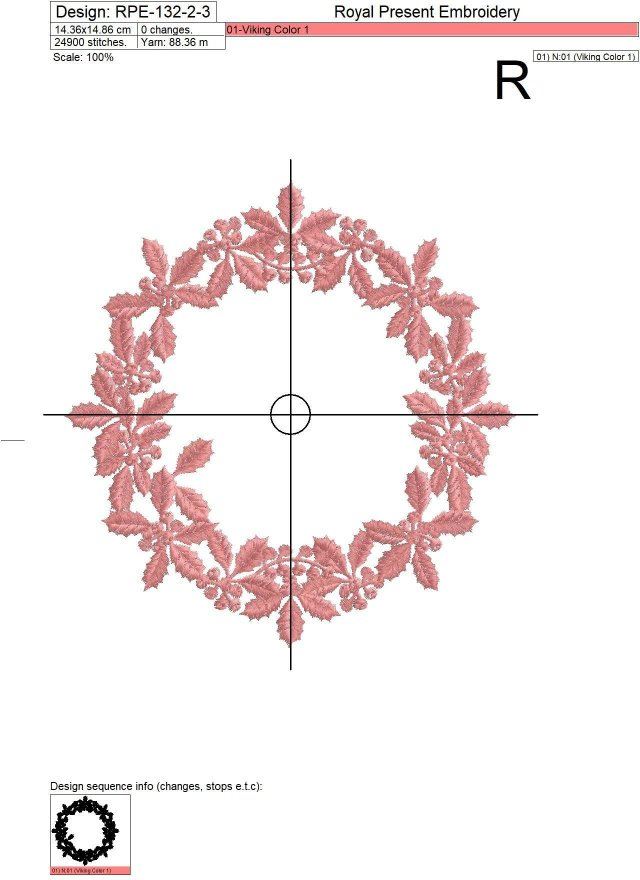 Machine Embroidery Design White Christmas Wreath