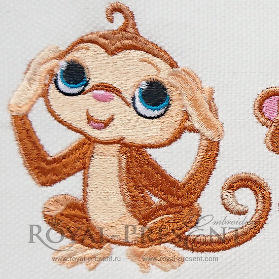 Machine Embroidery Design Three Cute Monkeys - 2 sizes