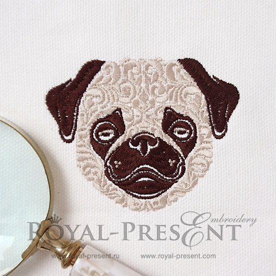 Ornamental Machine Embroidery Design Pug dog - 6 sizes RPE-1007