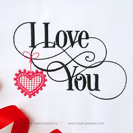 Machine Embroidery Design I Love You inscription - 2 sizes