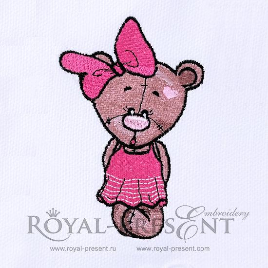 Machine Embroidery Designs Teddy Bear Girl - 3 sizes RPE-340