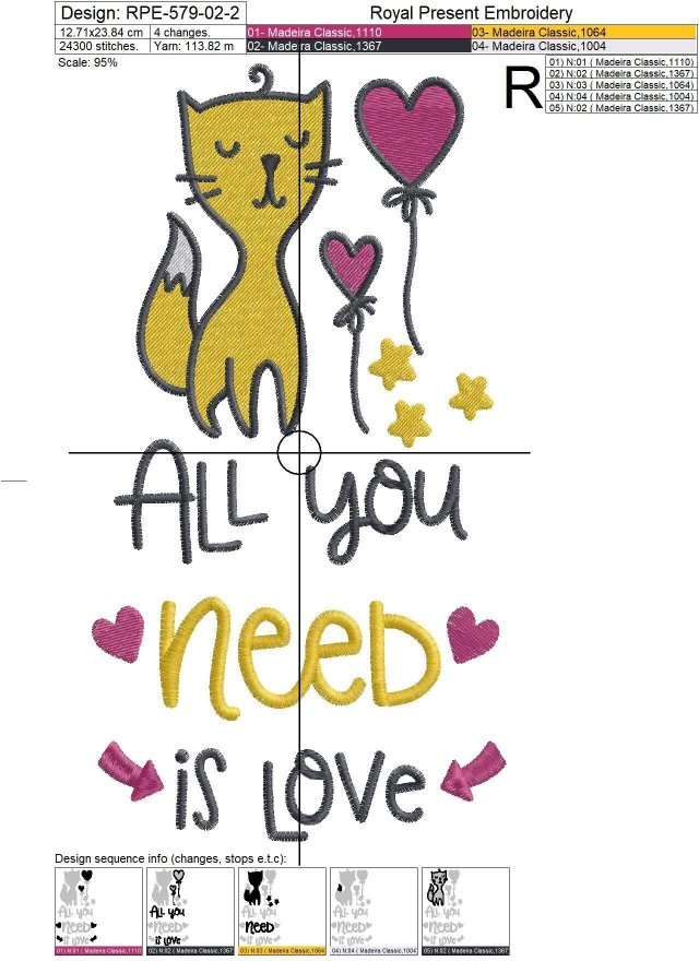 Machine Embroidery Design All you need is Love