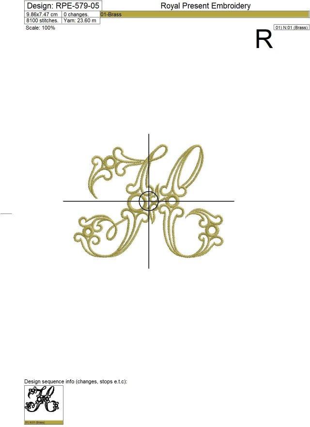 Machine Embroidery Design Vintage letter H