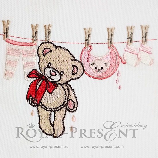 Machine Embroidery Design Cute Teddy Bear - 4 sizes RPE-1038