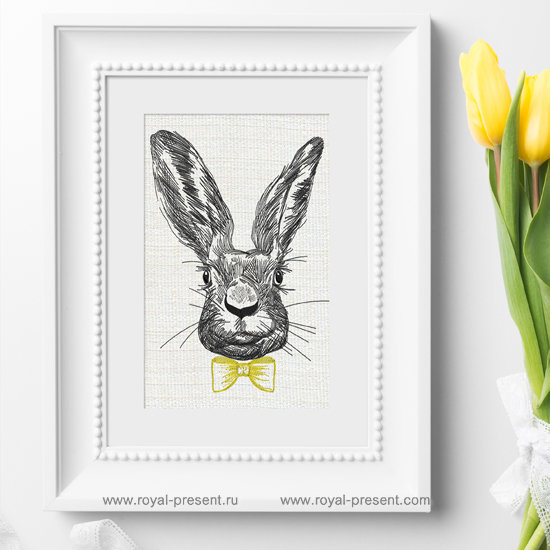 Machine Embroidery Design Spring Rabbit with bow-tie RPE-1252