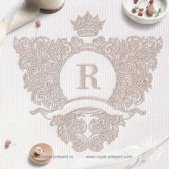 Ornate baroque monogram frame Embroidery Design - 4 sizes RPE-1243
