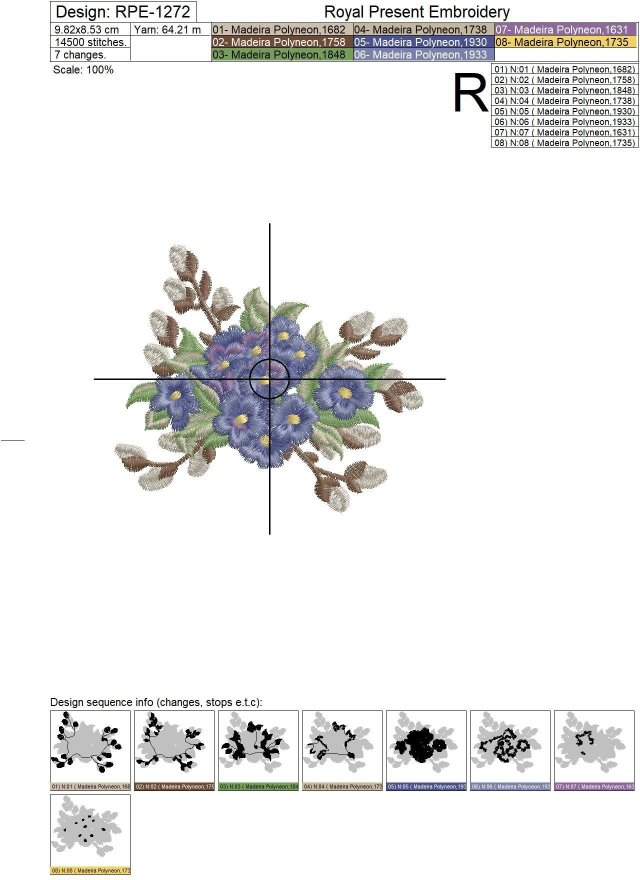 Forget-me-nots Bouquet Machine Embroidery Design