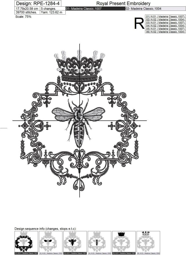 French Queen Bee Machine Embroidery Design - 5 sizes
