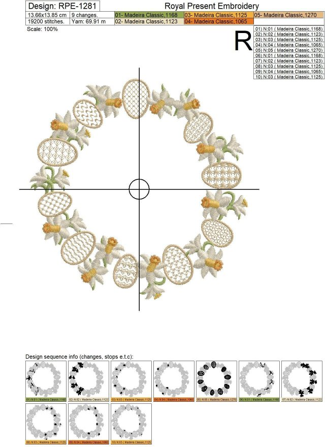 Daffodils Wreath Machine Embroidery Design - 4 sizes