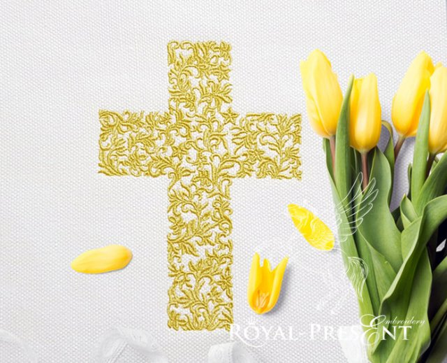 Easter Cross machine embroidery design - 3 sizes