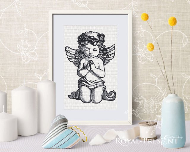 Praying Angel Machine Embroidery Design - 5 sizes