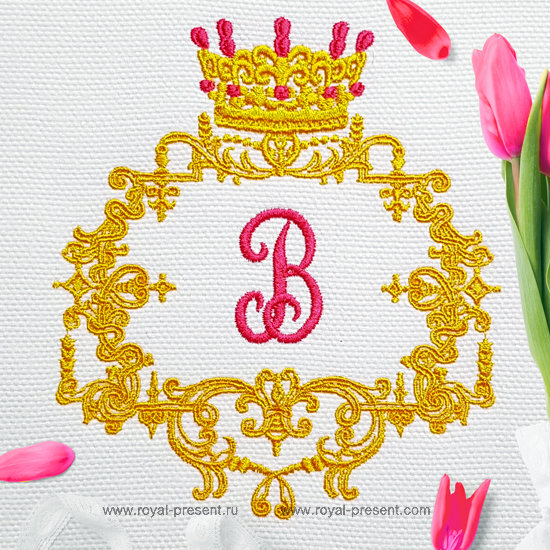 Royal monogram frame Embroidery Design - 3 sizes RPE-1280