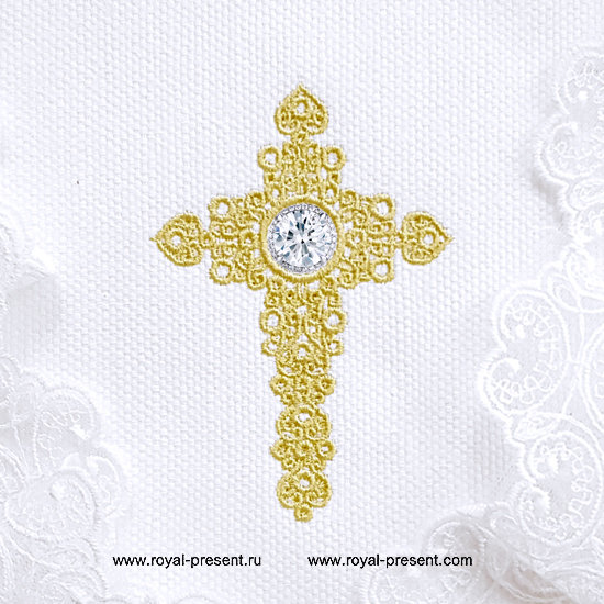 Machine embroidery design Jewelry Cross with Crystal RPE-1305