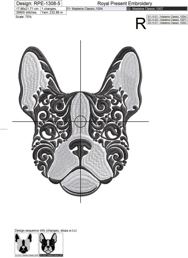 Portrait French Bulldog Machine Embroidery Design - 5 sizes