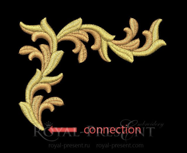 Two Gold leaves elements Machine Embroidery Designs