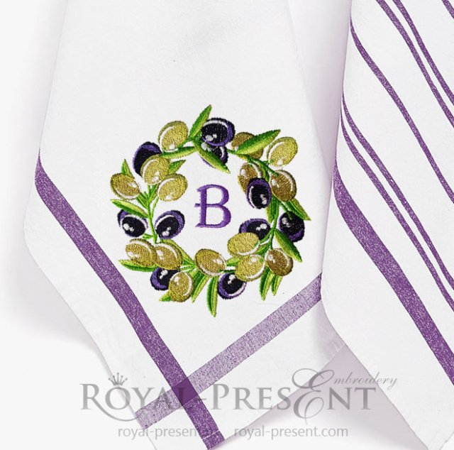 Olives Wreath Machine Embroidery Design - 4 sizes RPE-1401