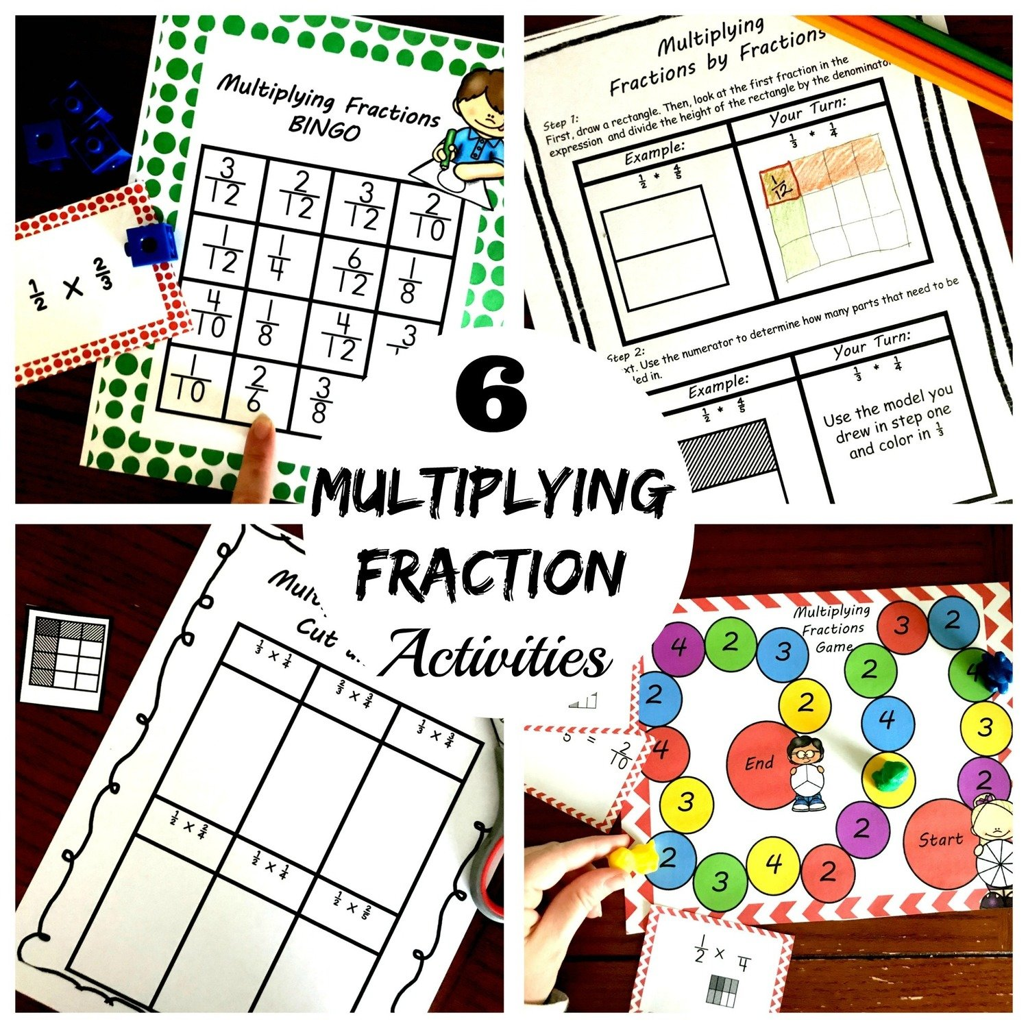 6 Multiplying Fractions by Fractions Activities