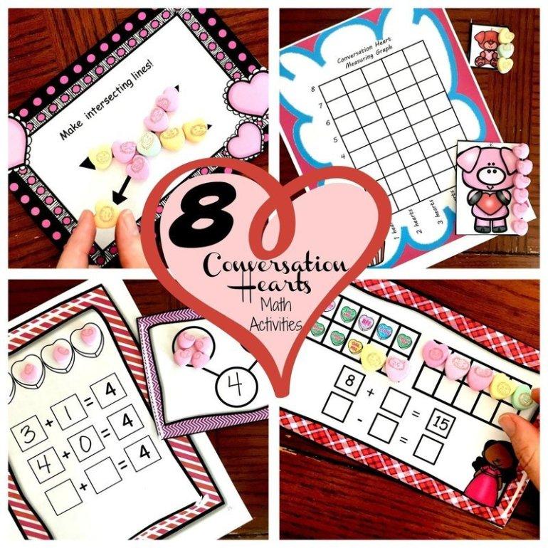 Eight Valentine's Day Conversation Hearts Math Activities