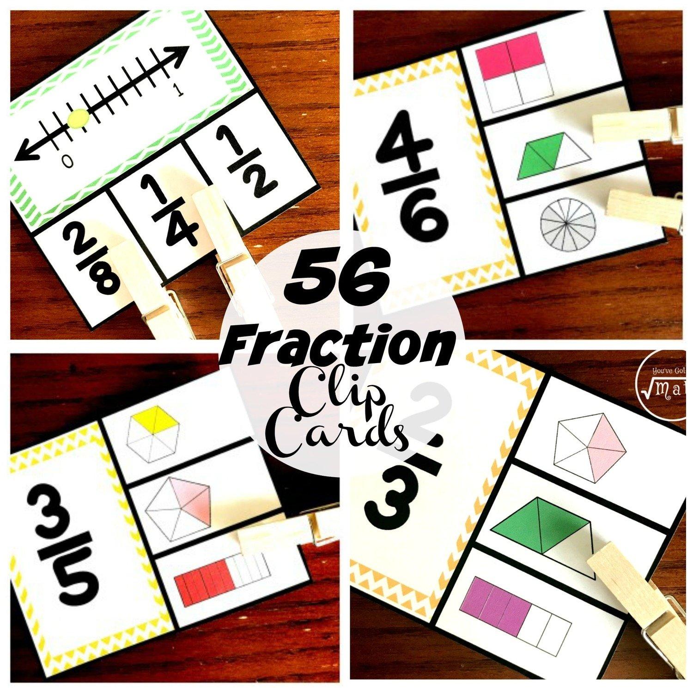 56 Fraction Clip Cards