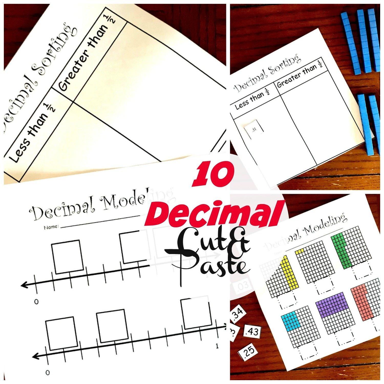 10 Decimal Cut and Paste Worksheets