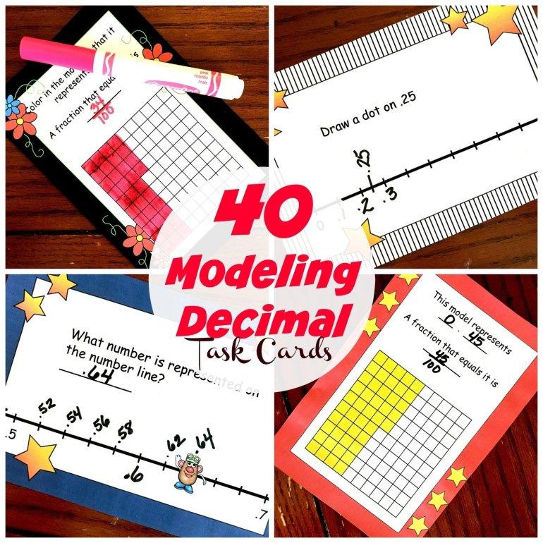 40 Modeling Decimal Task Cards