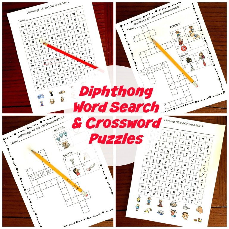 Diphthong Word Searches and Crossword Puzzles 00049
