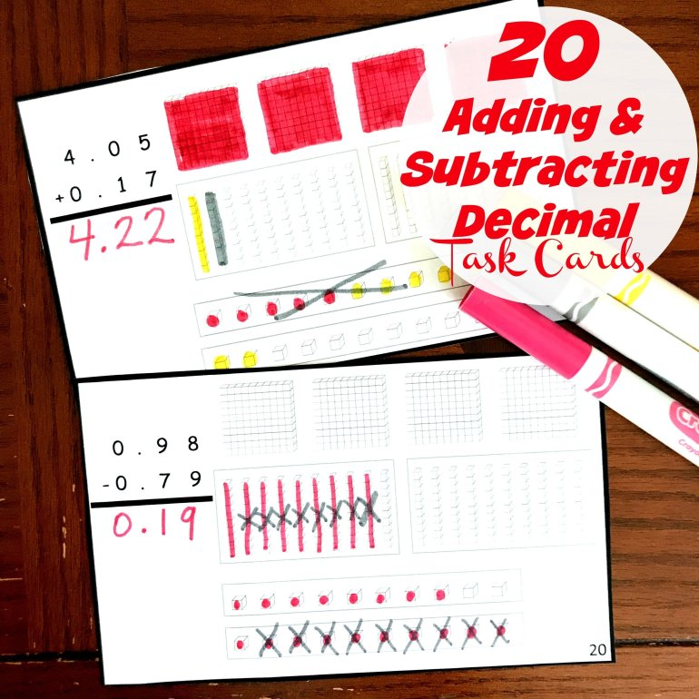 20 Adding and Subtracting Decimal Task Cards 00054