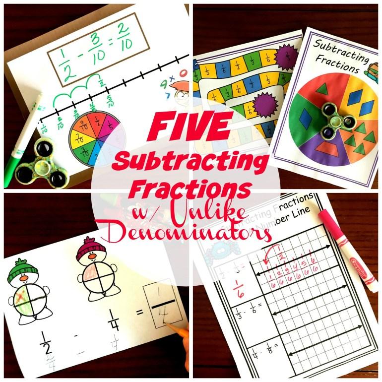 Five Subtracting Fractions With Unlike Denominators Activities 00065