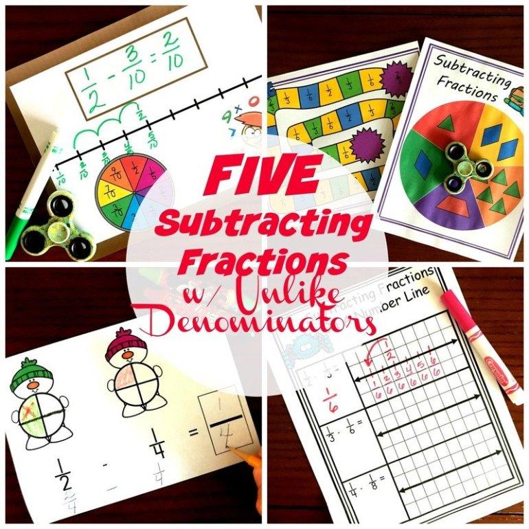 Five Subtracting Fractions With Unlike Denominators Activities
