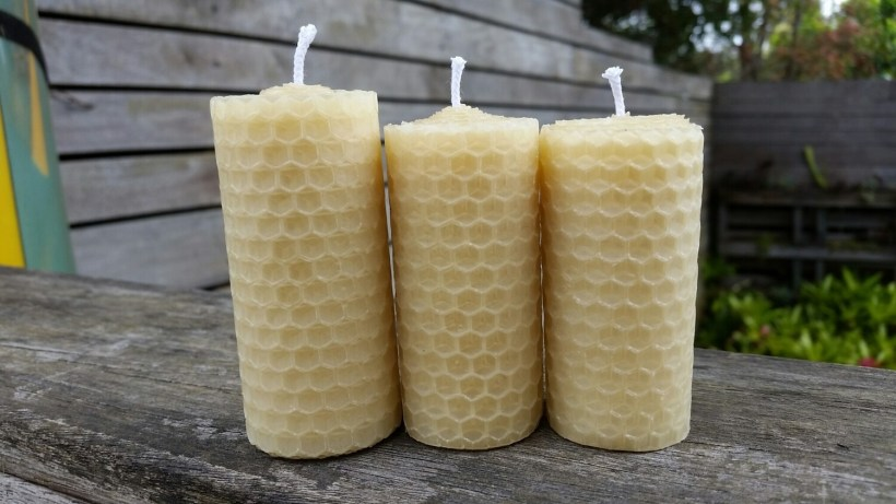 3-PACK Hand-rolled beeswax candle
