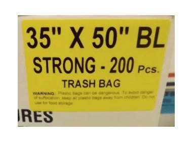 35X50 SO Garbage Bags Strong Black 200 Bags / Case