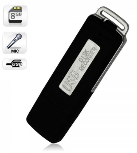 8GB Keychains Digital Voice Recorder USB Flash Drive UR-08 Black TM86030241