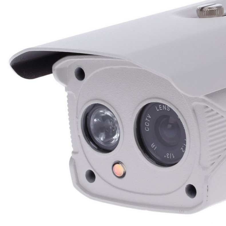 "1/3"" CCD 700TVL 45° PAL Surveillance Security Camera with 1-IR LED White + Grey"