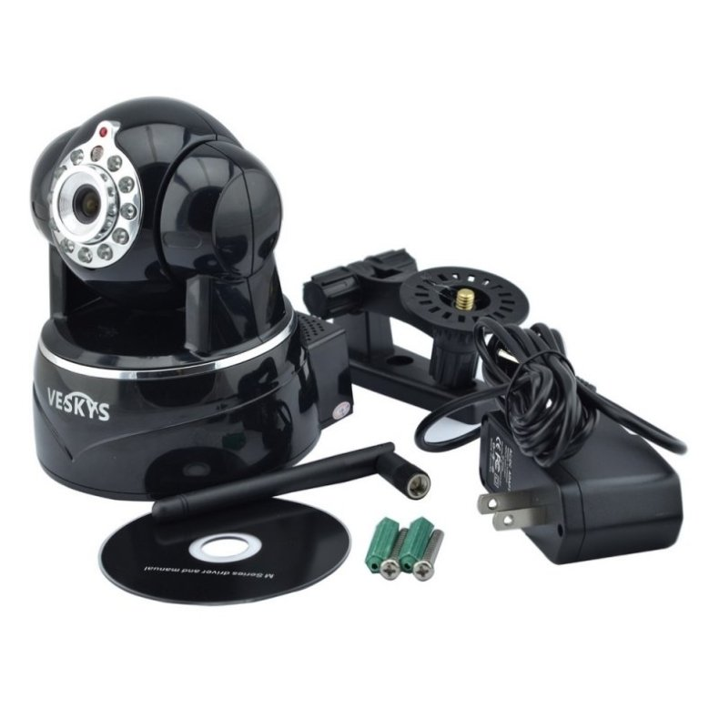 VESKYS N620W 720P HD Surveillance Wireless Network IP Camera with TF Slot/Two-way Audio Black