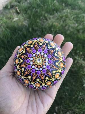 Purple Star Dot Mandala Handmade rock home decor unique gift