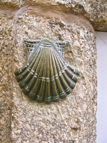 Scallop shell on a wall in Santiago de Compostela