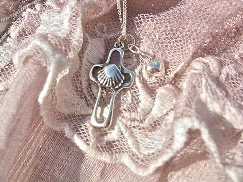 Sterling silver scallop shell cross and tiny puffed heart