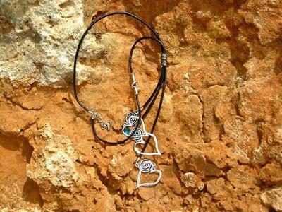 Hearts & swirls necklace + birthstone crystal