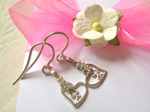 Rare sterling silver Indalo heart earrings with zirconite stones