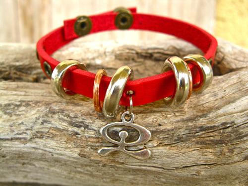 Vibrant red leather Indalo charm bracelet