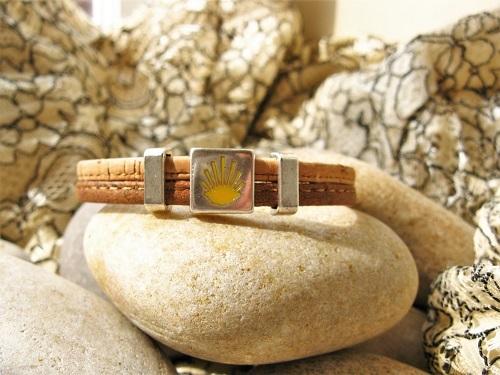 Camino de Santiago Way of St James bracelet - two tone cork