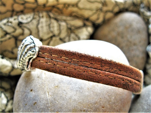 Eco-friendly Camino travel bracelet made with gorgeous rich brown cork