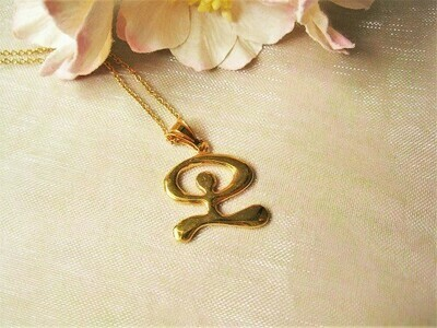 Indalo necklace ~  gold-filled, large dancing