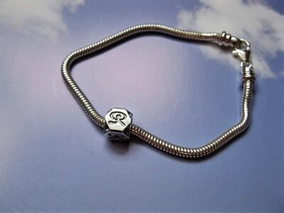 Indalo Man bead bracelet ~  silver, dancing