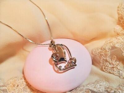 Heart necklace ~ rhinestone trio