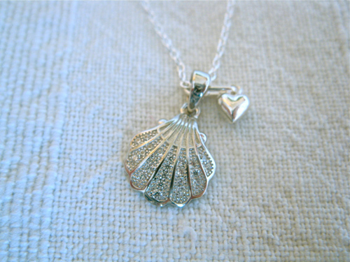 Sterling silver scallop shell and tiny puffed heart
