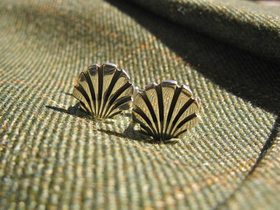 Scallop shell cufflinks ~ classic, sterling silver