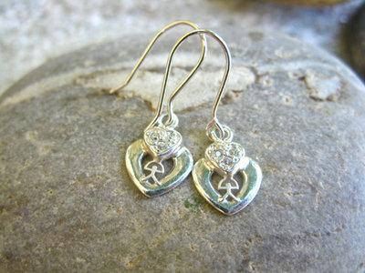 Indalo earrings ~ silver, double heart
