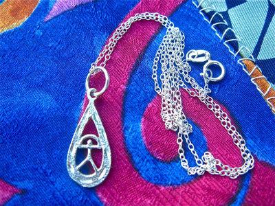 Indalo necklace ~ hammered + etched teardrop