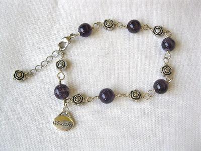 Amethyst charm bracelet, WISDOM